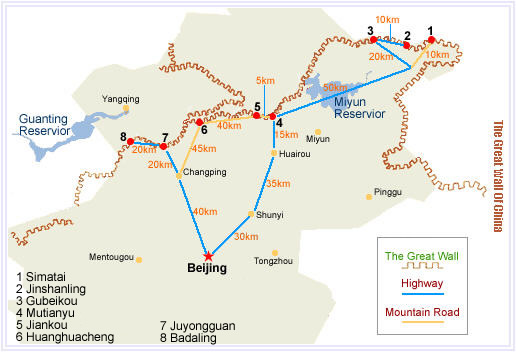 Carte de la Grande Muraille de Chine