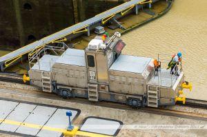 """Une """"mule"""". Ce tracteur sert à guider les navires pour le passage de l'écluse."""