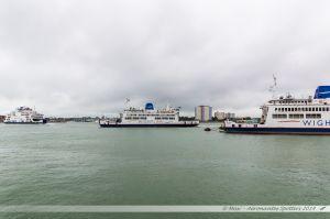 Les ferrys St Clare, St Cecilia et St Helen, assurant la liaison Portsmouth-Ile de Wight, réunis