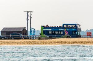 La file d'attente pour le bac côté Shell Bay, avec un bus à impériale de la ligne 50 en attente