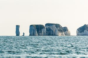 """Old Harry Rocks"" vus depuis le large"