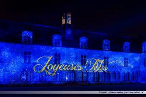 Les Lumières de Laval 2014 - Projection sur la façade du Château-Neuf depuis la place de la Trémoille