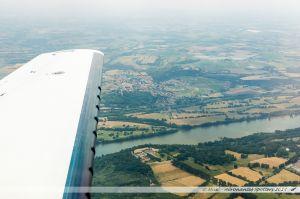 Vu du Ciel : Chateau du Cellier, la Loire et le village de La Varenne