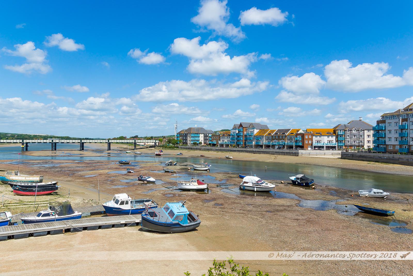 Estuaire de l'Adur et son viaduc ferroviaire à Shoreham-on-the-Sea