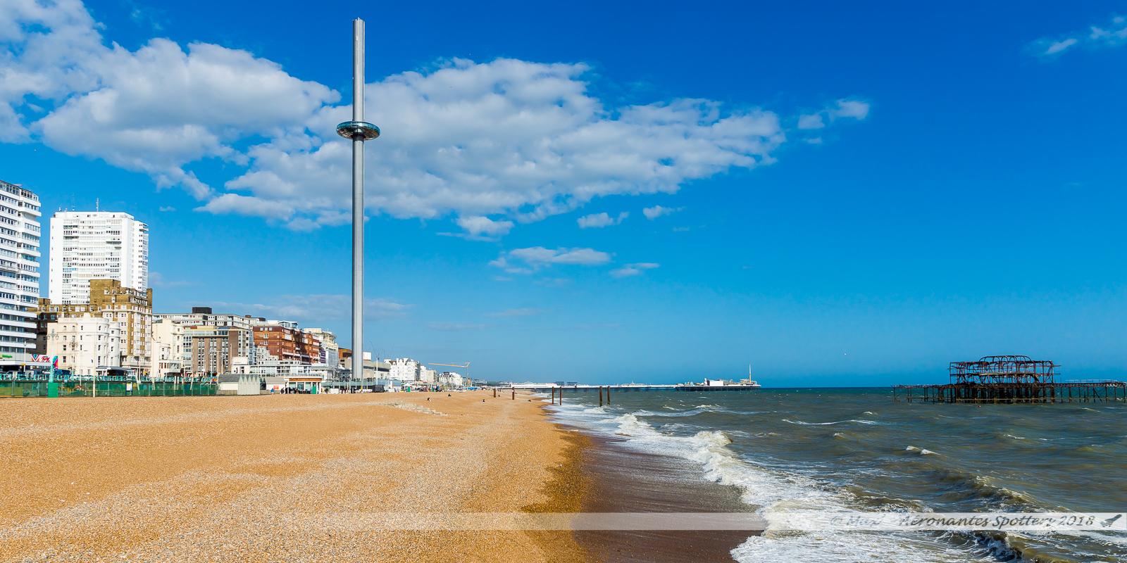 La baie de Brighton, sa tour British Airways I360, et son Pier