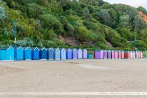 Plage de Bournemouth et ses cabines de plage