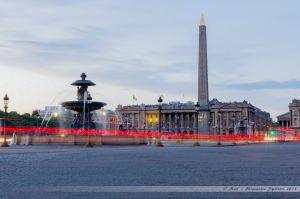 La place de la Concorde, avec l'obélisque et les fontaines de la place