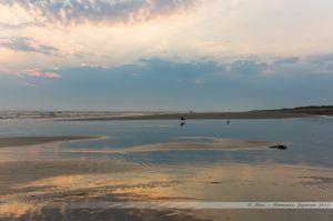 Surfeurs et autres adeptes de sports de glisse, en action sur la Grande Plage de Saint Jean de Monts au couché du soleil