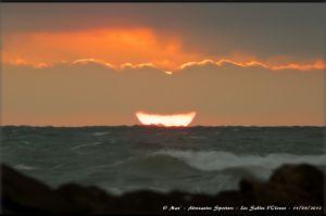 Coucher de soleil sur la plage de l'Aubraie