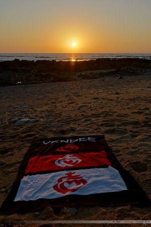 Coucher de soleil sur la plage de la Paracou