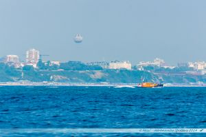 Bournemouth avec son ballon, vue depuis Sandbanks